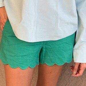 J Crew Scallop hem Green Shorts Size 6